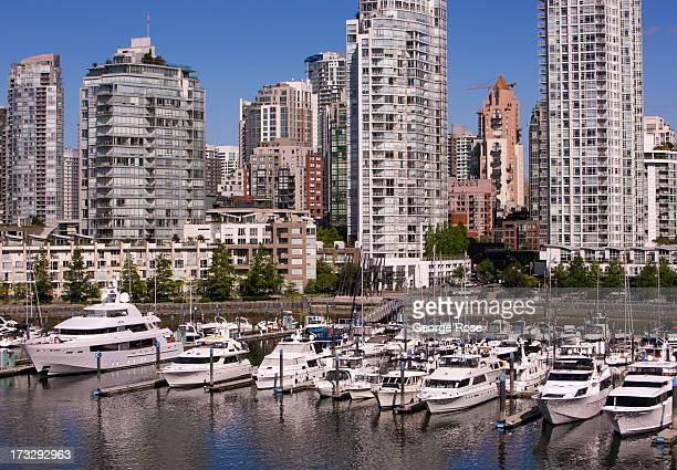 Luxury boats docked at the Marinaside Crescent are viewed from the Cambie Street bridge on June 3 2013 in Vancouver British Columbia Canada Vancouver...