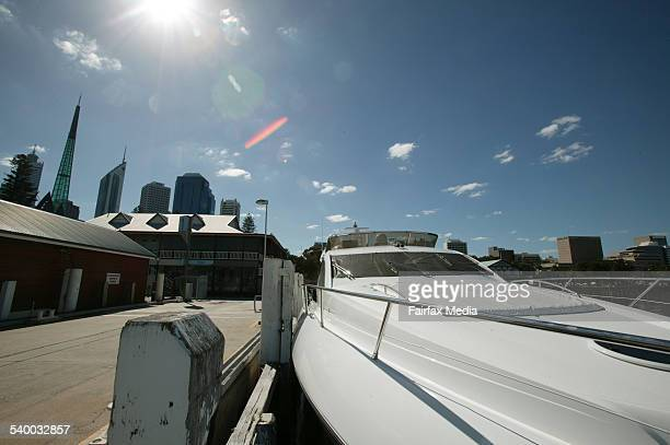 Luxury boats like this one at the Barrack Street Jetty in Perth are a popular purchases in Western Australia at the moment due to the state's booming...