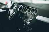 Luxury car interior at car dealership