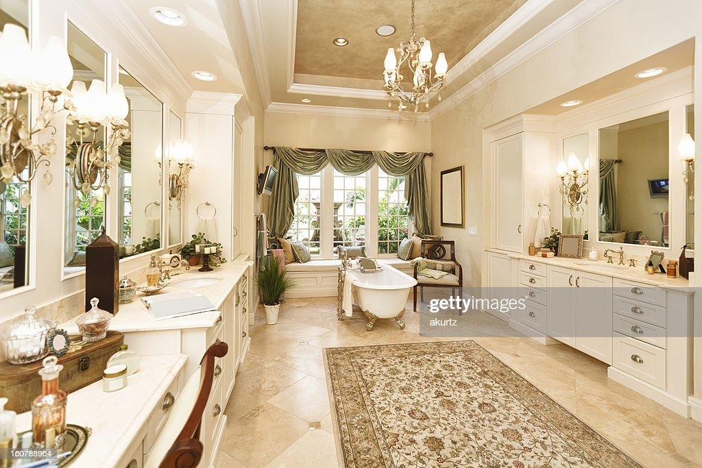 Luxury custom bathroom with claw foot tub : Stock Photo
