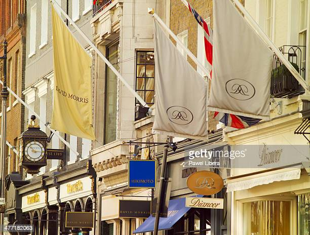 Luxury Designer Stores Banners in Old Bond Street in London's Mayfair area