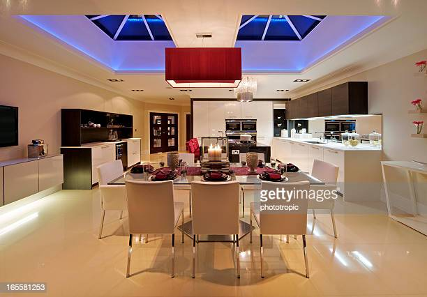 luxury domestic kitchen at night