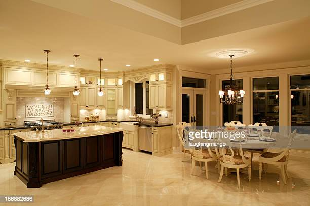 luxury estate house kitchen dining room