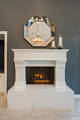 Close up of a modern luxury fireplace and hearth