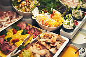Luxury food on wedding table in hotel or restaurant
