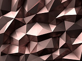 Low-Poly golden rose abstract background. Metal polygonal shape