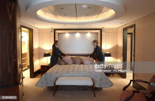 A luxury grand duplex suite on the world's biggest and most expensive Cunardowned cruise liner the Britishflagged Queen Mary 2 which arrived at its...