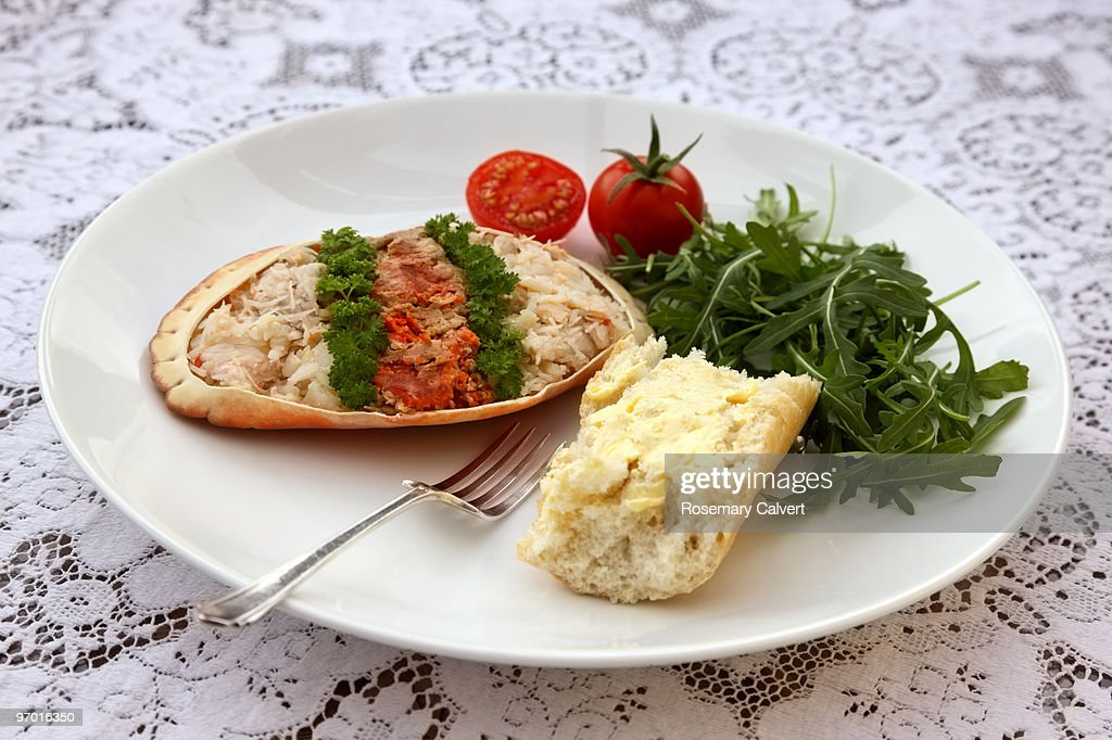 Luxury healthy meal of crab meat and salad. : Stock Photo