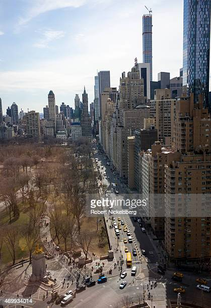 Luxury highrise apartments are viewed across Central Park South over Columbus Circle March 31 2015 in the Manhattan borough of New York