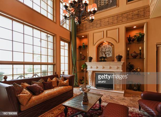 Luxury home interior fireplace large windows