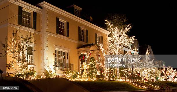 Luxury Home with Christmas Lights at night, Brooklyn, New York.
