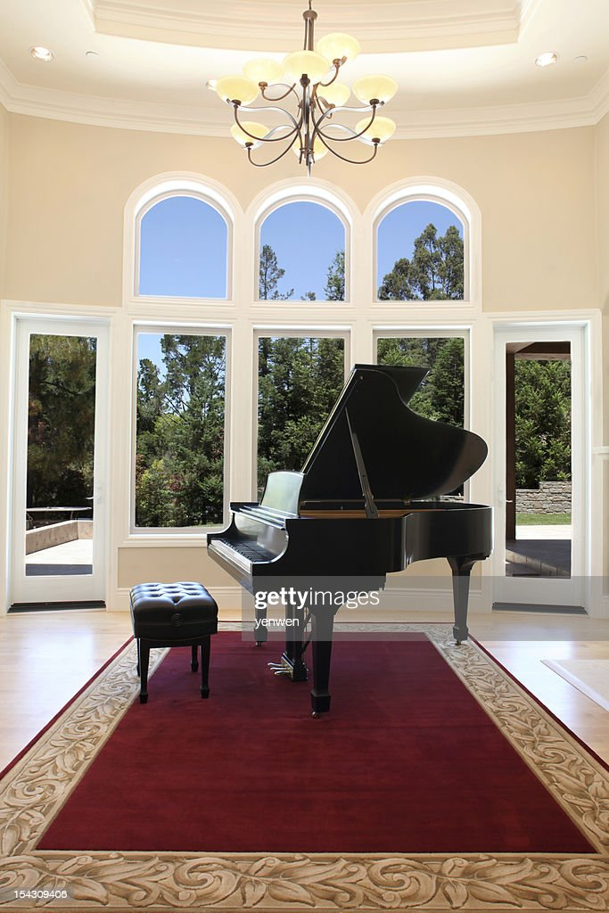 Luxury Home with Grand Piano : Stock Photo