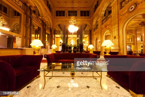 Luxury hotel lobby with columns