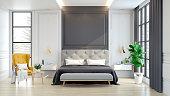 Luxury house.  interior of Bedroom  ,3d rendering