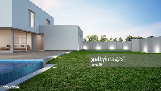 Luxury house with swimming pool and terrace near lawn in modern design, Vacation home or holiday villa for big family : Stock Photo