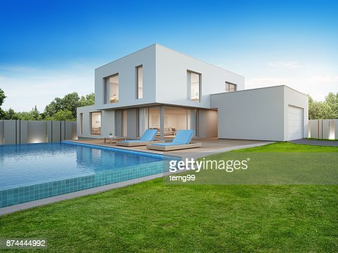 Luxury house with swimming pool and terrace near lawn in modern design, Empty front yard at vacation home or holiday villa for big family : Stock Photo