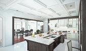 Luxury kitchen interior. 3d illustration