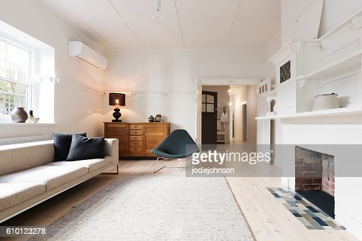 Luxury living room interior styled in contemporary furnishings : Stock Photo