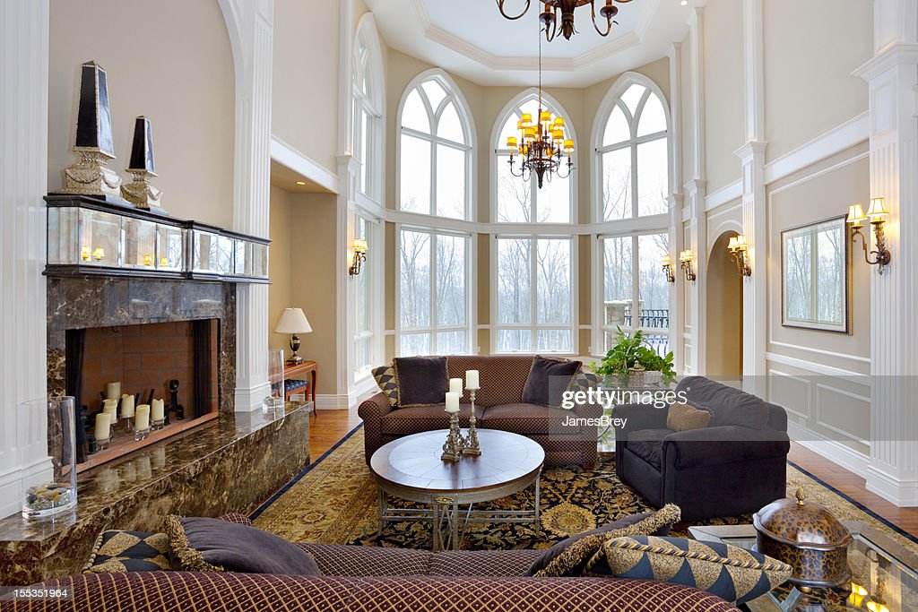 Luxury Mansion Living Room With Cathedral Ceiling : Stock Photo