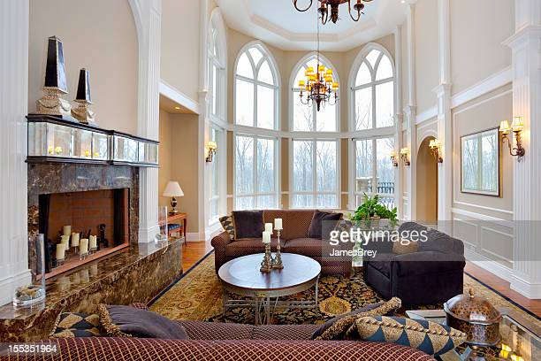 Luxury Mansion Living Room With Cathedral Ceiling