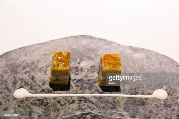 Luxury Molecular Gastronomy, Crispy Caramel Seafood Cookie