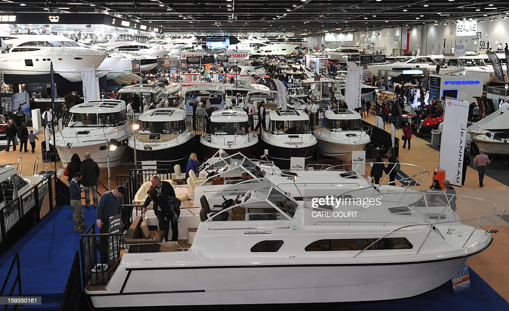 Luxury motor boats are displayed at the 2013 London Boat Show in east London on January 12, 2013. The nine-day show features everything from speedboats to dinghies, boat paint to hot tubs with exhibits from many major marine and watersports related brands.