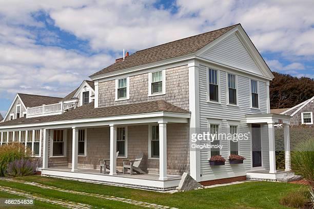 Luxury New England House, Chatham, Cape Cod, Massachusetts. Blue sky.