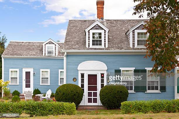 Luxury New England House, Chatham, Cape Cod, Massachusetts. Blue sky.