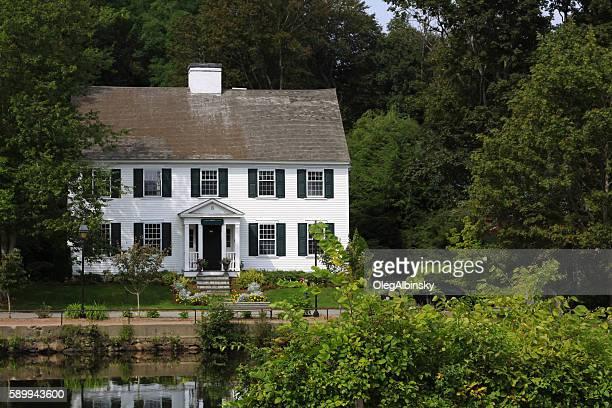 Luxury New England House on a Pond Among Trees, Massachusetts.