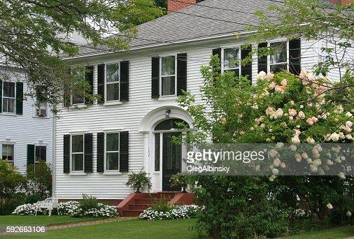 Luxury New England House with White Clapboard, Sandwich, Massachusetts, USA.
