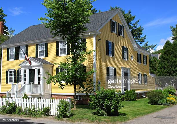 Luxury New England House with Yellow Clapboard, Kennebunkport, Maine, USA.