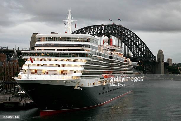 Luxury ocean liner the Queen Elizabeth docks in Sydney Harbour on February 23 2011 in Sydney Australia The voyage marks the new Queen Elizabeth's...