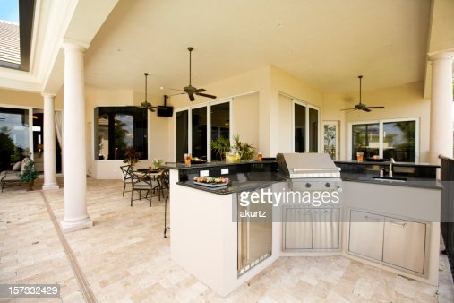 Luxury outdoor kitchen and covered patio