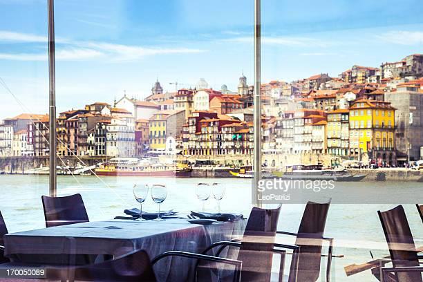Luxury restaurant on riverbank in Oporto
