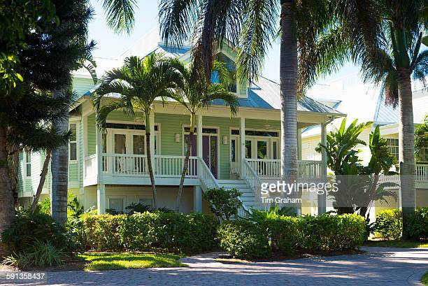 Luxury stylish winter home with sundeck and palm trees downtown on Captiva Island in Florida USA