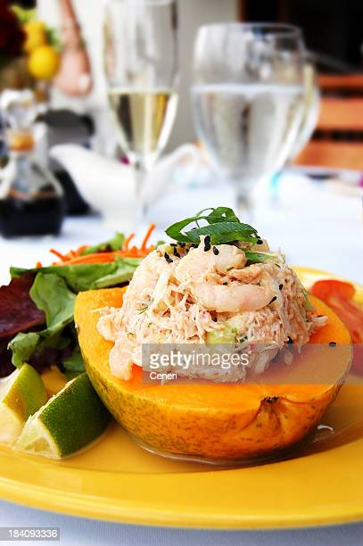 Luxury Tropical Lunch: Lobster and Crab Meat Salad Stuffed Papaya