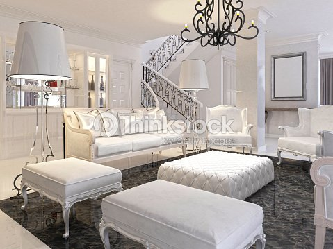 Luxury White Living Room With Furniture Stock Photo