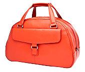 Luxury woman's orange leather handbag