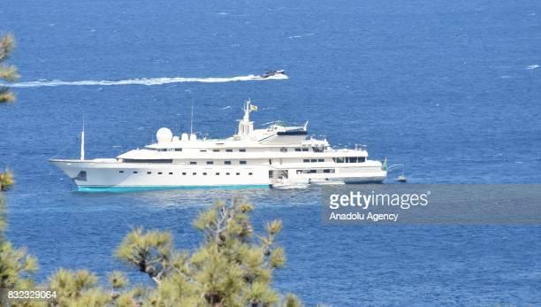 A luxury yacht belonging to Saudi Prince AlWaleed Bin Talal bin Abdulaziz al Saud is seen anchored on the shores of the Aegean sea resort of Bodrum's...