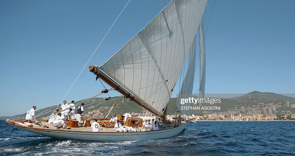 A luxury yacht sails on May 25, 2010 off Ajaccio, on the French mediterranean island of Corsica, during the Regates Imperiales (Imperial regattas).