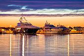 Luxury yachts harbor at golden hour view, Zadar, Croatia, Dalmatia