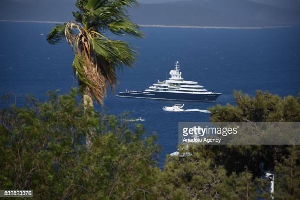 Luxury yachts of Russian businessman Farkhad Akhmedov and Saudi Prince AlWaleed Bin Talal bin Abdulaziz Al Saud anchor at Bodrum during their holiday...