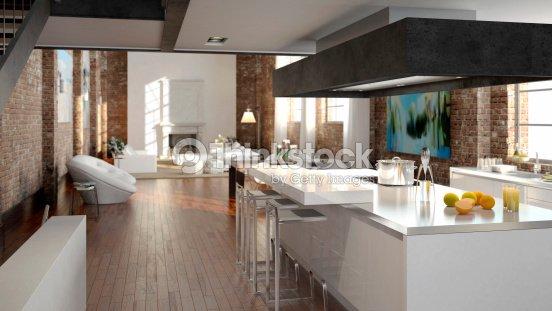 Luxus Kitchen In A Loft Stock