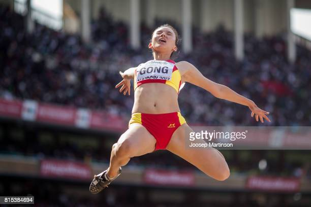 Luying Gong of China competes in the girls long jump during day 5 of the IAAF U18 World Championships at Moi International Sports Centre Kasarani...