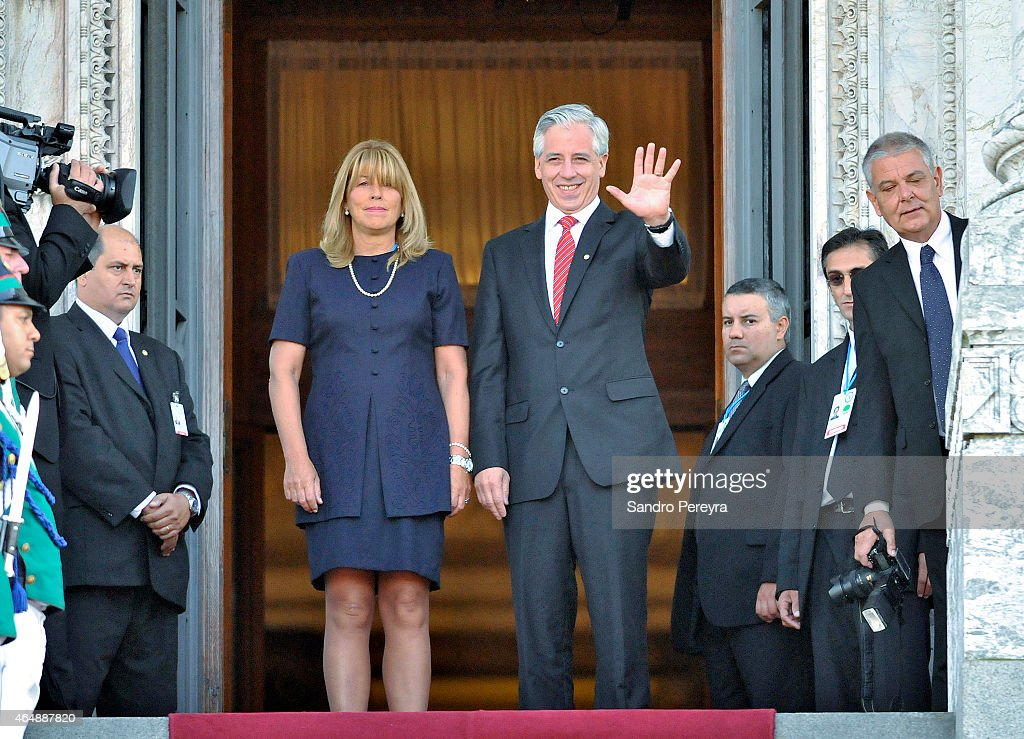 Álvaro García Linera Vice President of Bolivia greets upon arrival at the seat of the Parliament of Uruguay for the Act of assumption of the Uruguayan President, <a gi-track='captionPersonalityLinkClicked' href=/galleries/search?phrase=Tabar%C3%A9+V%C3%A1zquez&family=editorial&specificpeople=546090 ng-click='$event.stopPropagation()'>Tabaré Vázquez</a> on March 01, 2015 in Montevideo, Uruguay.