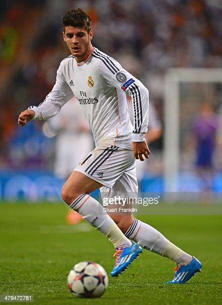 Álvaro Morata of Madrid in action during the EEFA Champions League round of 16 second leg match between Real Madrid CF and FC Schalke 04 at Estadio...