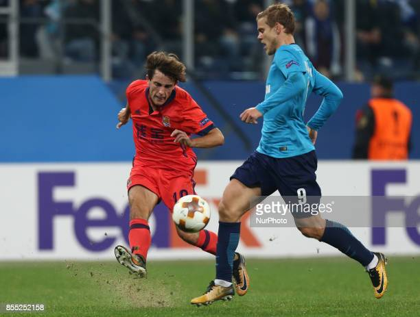 Álvaro Odriozola of FC Real Sociedad and Aleksandr Kokorin of FC Zenit Saint Petersburg vie for the ball during the UEFA Europa League Group L...