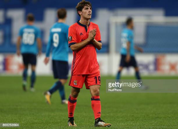 Álvaro Odriozola of FC Real Sociedad reacts after the UEFA Europa League Group L football match between FC Zenit Saint Petersburg and FC Real...