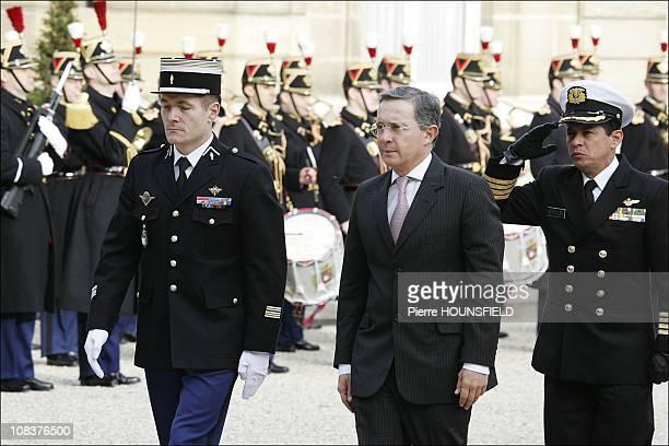 Álvaro Uribe in Paris France on January 21st 2008