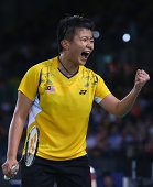 Ly Lim of Malaysia celebrates in the women's doubles badminton quarterfinal match at Emirates Arena during day nine of the Glasgow 2014 Commonwealth...